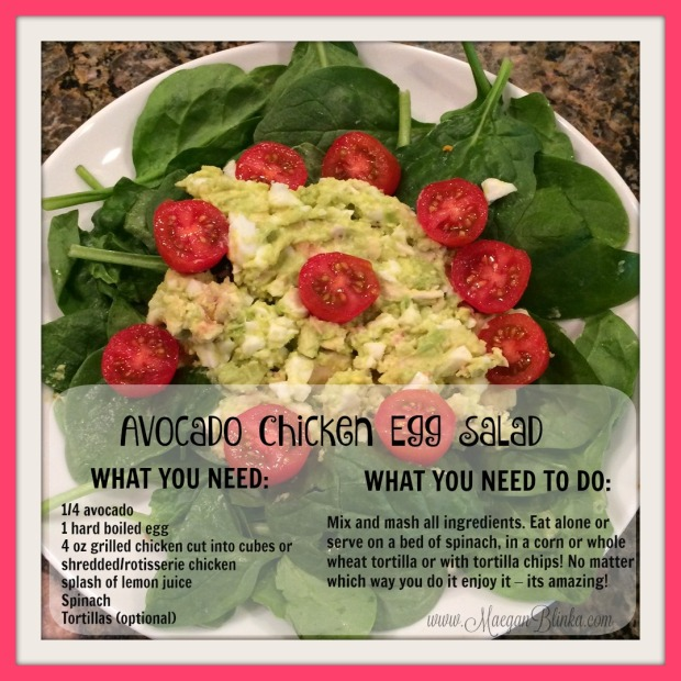 Avocado chicken egg salad tomatoes with website and recipe