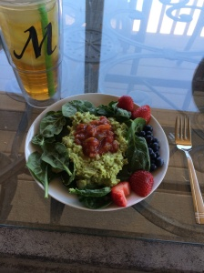 Avocado chicken egg salad with berries
