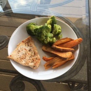 Chicken, broccoli, sweet potato