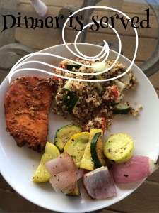 Crockpot chicken with quinoa salad and grilled veggies, quinoa salad, cold quinoa, great side dish, healthy mom, fit mom, healthy dinner, party side, clean eating, weight loss, fitness, turkey burger side, dinner side dish