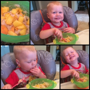toddler breakfast, peach oatmeal, clean oatmeal, 21-day fix