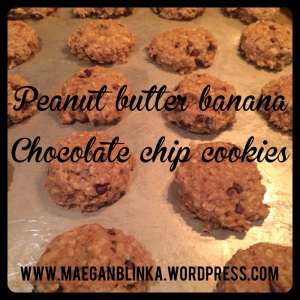 peanut butter banana oat chocolate chip cookie, banana cookie, healthy cookie, guilt free dessert