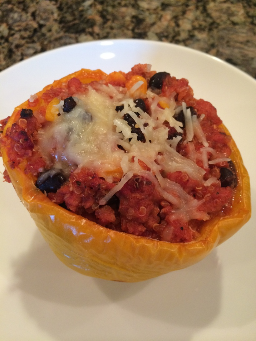 Leftovers for lunch, Quinoa stuffed peppers