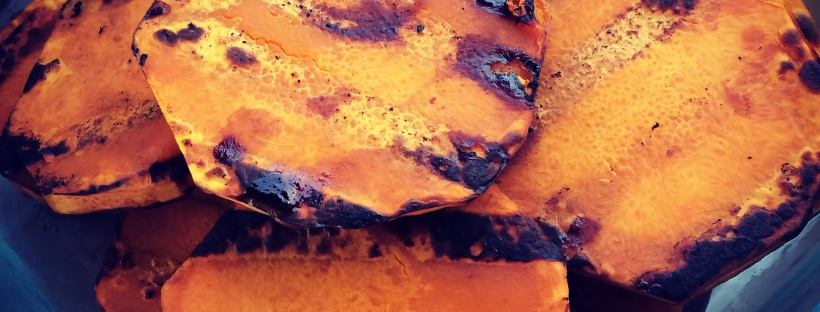 Grilled squash, grilled butternut squash, Maegan Blinka, honey glazed butternut squash, healthy dinner side, clean eating,
