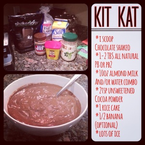 kit kat shakeology, high calorie protein shake, low calorie protein shake, chocolate shakeology, shakeology recipes, healthy treats, candy bar alternative