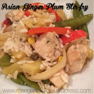 Asian Ginger plum stir fry, 21 day fix meal plan, Insanity Max 30 meal plan approved, stir fry, freezer meal, wildtree veggie medley freezer meal workshop, clean eating, Asian citrus vinaigrette, homemade dressing,