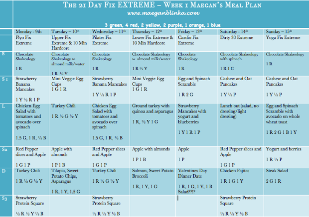 21 Day Fix Extreme sample meal plan, Maegan Blinka, 21 Day Fix meal plan,