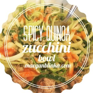 spicy zucchini quinoa bowl with text