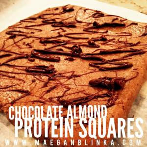 chocolate almond protein squares, FIXATE recipe, new protein bar recipe ideas, oat flour recipe, almond flour recipe, Maegan Blinka, Megan Blinka, Can you make your own oat flour, Can you pulse oats to make oat flour, almond butter recipes