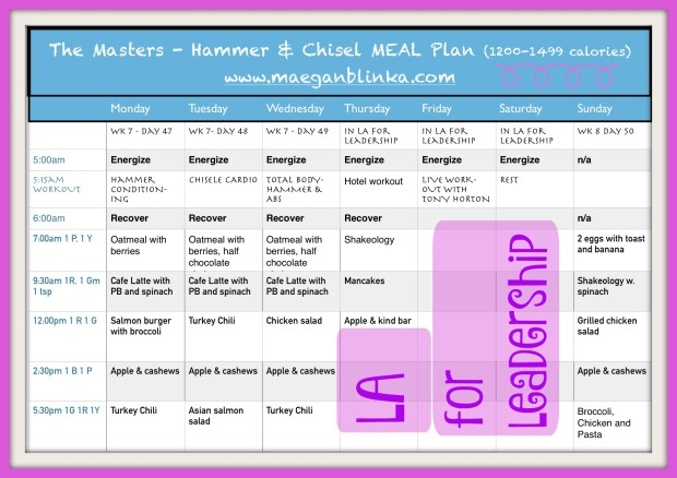 Hammer and Chisel week 7 meal plan_Maegan