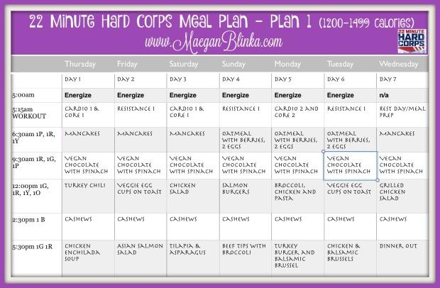 22 Minute Hard Corps meal plan week 1