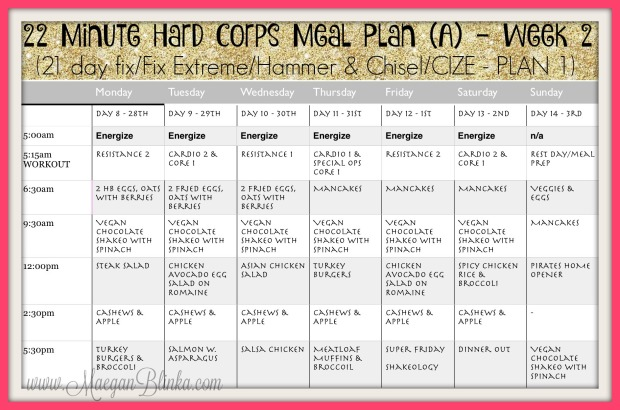 22 Minute Hard Corps Week 2 Meal Plan