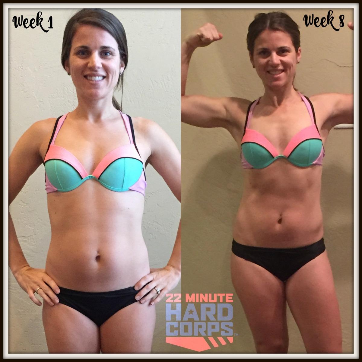 Maegan Blinka, Megan Blinka, 22 Minute Hard Corps, Bikini Bootcamp results, Tony Horton workout program, 22 Minute Hard Corps results, 8 week results,