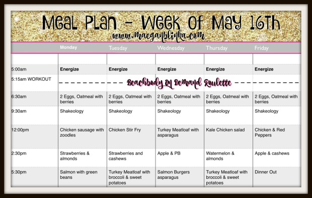 meal plan week of May 16th on demand