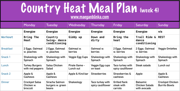 Country Heat week 4 meal plan