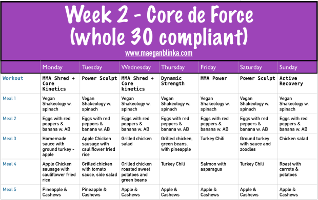Whole 30 meal plan, Core de Force week 1 meal plan, Butternut squash soup, mashed cauliflower, Chicken ratatouille, Turkey and Sweet Potato Hash, Core de Force Week 2 schedule, What to expect with Core de Force, Maegan Blinka, Megan Blinka, MMA, Les Mills new workout, Jericho McMatthews, Joel Freeman, New Beachbody Workout, Kickboxing home workout program, Example whole 30 meal plans with Shakeology, Shakeology