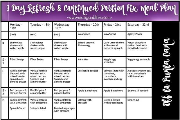 3 day refresh meal plan example