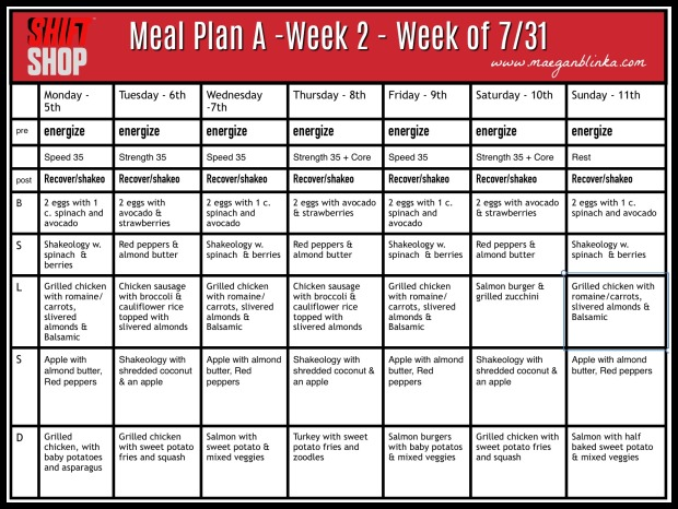 Meal Plan Week of July 31