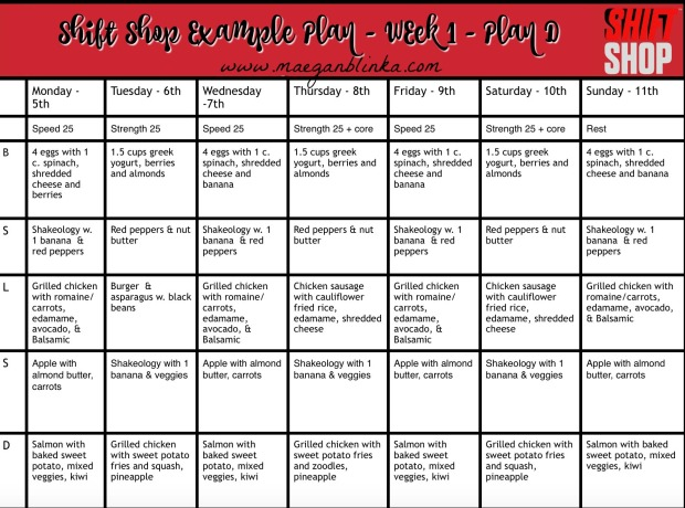 The Shift Shop Calendar  Example Meal Plans  Maegan Blinka