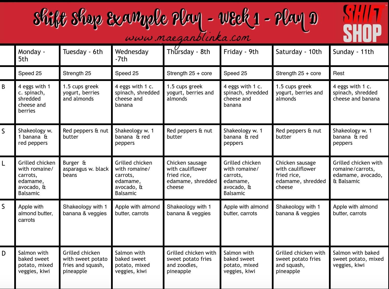 The Shift Shop Calendar Example Meal Plans Maegan Blinka